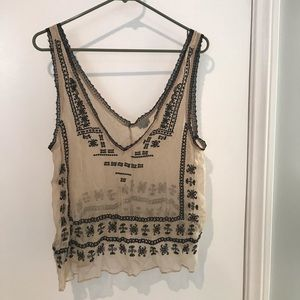 Tank top mixed black and beige